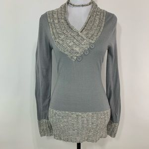 Poof Excellence grey knit tunic v neck sweater